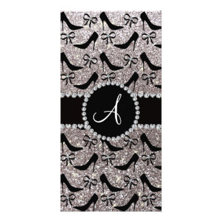Monogram silver glitter black high heels bow photo cards