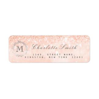 Monogram Silver Glitter Coral Peach RSVP Bridal