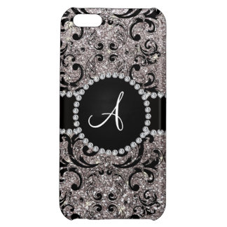 Monogram silver glitter damask case for iPhone 5C