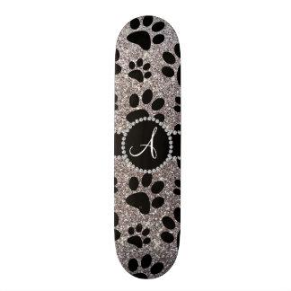 Monogram silver glitter dog paws 18.1 cm old school skateboard deck