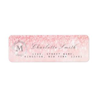 Monogram Silver Glitter Pink Rose Gray RSVP Bridal