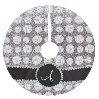 Monogram silver glitter volleyballs brushed polyester tree skirt