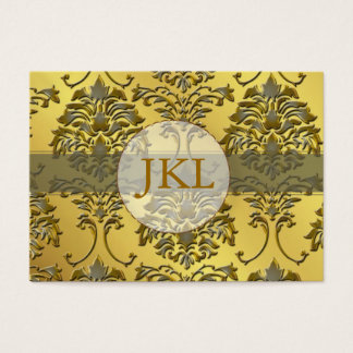 Monogram, silver gold tone damask chubby card