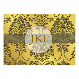 Monogram, silver gold tone damask chubby card business card