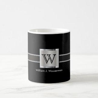 Monogram Silver, Gray and Black Coffee Mug