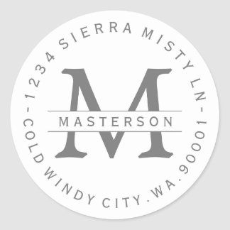 Monogram Silver Gray Circular Return Address Label Round Sticker