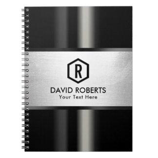 Monogram Silver Striped Modern Metallic Corporate Spiral Notebook