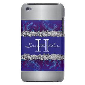 Monogram Silver White Diamonds Blue Floral Design Case-Mate iPod Touch Case