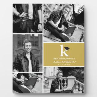 Monogram Simple Blocks Modern Photo Graduation Plaque