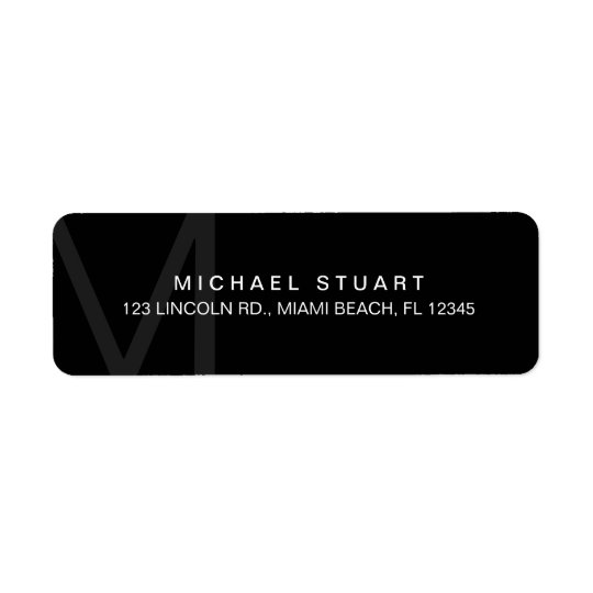 Monogram Simple Modern Minimalist Black Return Address Label