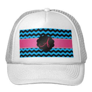 Monogram sky blue and black chevrons cap