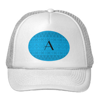 Monogram sky blue aztec pattern mesh hat
