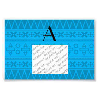 Monogram sky blue aztec pattern photograph