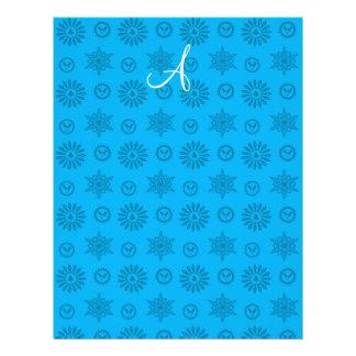Monogram sky blue christmas stars snowflakes flyer