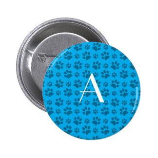 Monogram sky blue dog paw prints 6 cm round badge