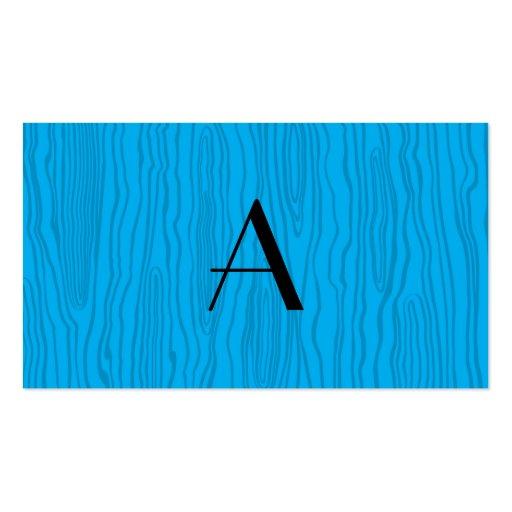 Monogram sky blue faux bois business card templates