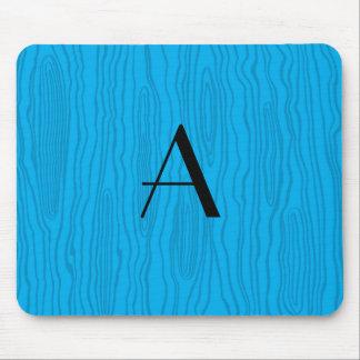 Monogram sky blue faux bois mouse pad