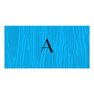 Monogram sky blue faux bois photo card template