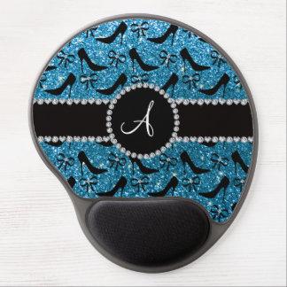 Monogram sky blue glitter black high heels bow gel mouse pad