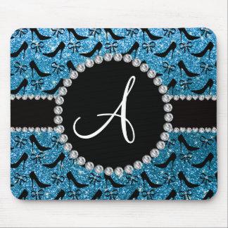 Monogram sky blue glitter black high heels bow mouse pad