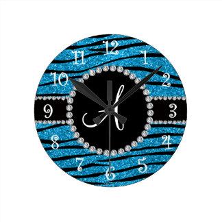 Monogram sky blue glitter zebra stripes circle round clock