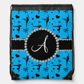 Monogram sky blue gymnastics hearts bows drawstring bag