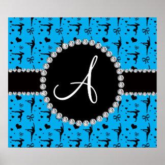 Monogram sky blue gymnastics hearts bows poster