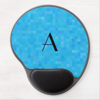 Monogram sky blue mosaic squares gel mouse pad