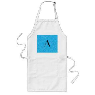 Monogram sky blue mosaic squares long apron