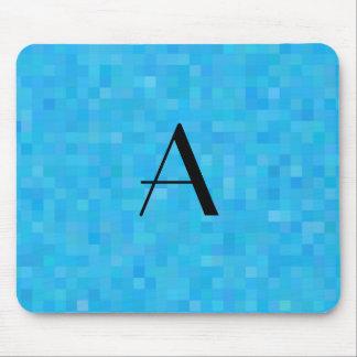 Monogram sky blue mosaic squares mouse pad