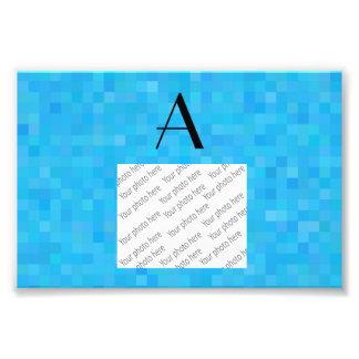 Monogram sky blue mosaic squares photographic print
