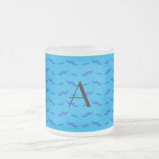 Monogram sky blue mustache pattern coffee mugs