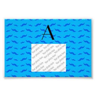 Monogram sky blue mustache pattern photo art