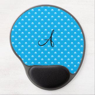 Monogram sky blue pearl polka dots gel mouse pad