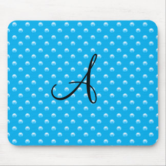 Monogram sky blue pearl polka dots mouse pad