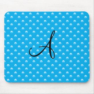 Monogram sky blue pearl polka dots mousepad