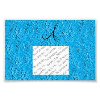 Monogram sky blue roses faux texture photo art