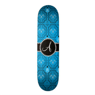 Monogram sky blue snowman trellis pattern custom skateboard