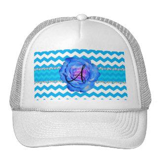 Monogram sky blue white chevrons blue rose mesh hat