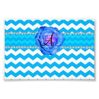 Monogram sky blue white chevrons blue rose photo print