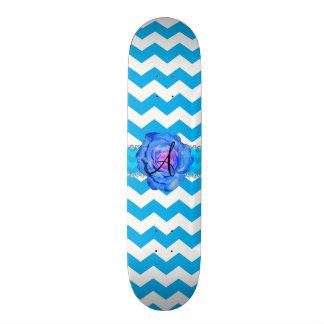 Monogram sky blue white chevrons blue rose skateboards