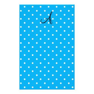 Monogram sky blue white polka dots custom stationery