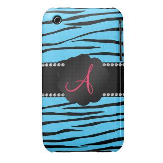 Monogram sky blue zebra stripes iPhone 3 case