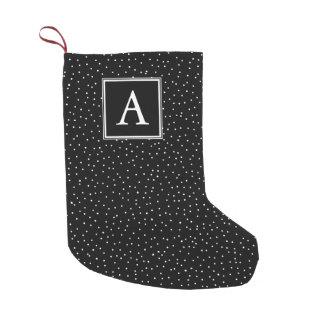 Monogram Snowfall   Black   Small Christmas Stocking