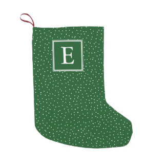 Monogram Snowfall   Green   Small Christmas Stocking