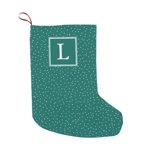 Monogram Snowfall | Teal | Small Christmas Stocking