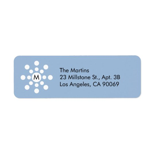 Monogram Snowflake Holiday Return Address Label