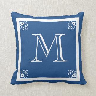 MONOGRAM solid blue custom Throw Pillow