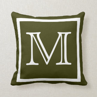 MONOGRAM solid dark army olive green pillow