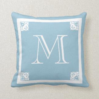 MONOGRAM solid LIGHT GREY blue custom Throw Pillow